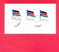 SOUTH SUDAN - Cover With 3x 1 SSP National Flag (1st Set) - #208 Südsudan Soudan Du Sud