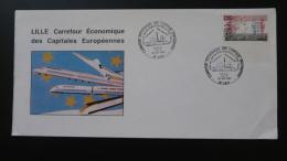 Lettre Cover Mise En Service Euro Tunnel Et TGV Nord Lille 1993 - Trains