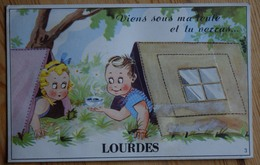 65 : Lourdes - Carte à Système : Dépliant 10 Vues - Viens Sous Ma Tente Et Tu Verras - Fantaisie - Enfants - (n°7402) - Lourdes