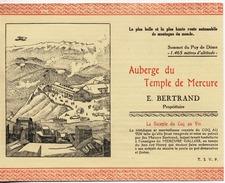 63 - AUBERGE DU TEMPLE DE MERCURE - Document Publicitaire - Etiketten Van Hotels