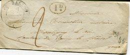 YONNE De BASSOU Cachet T12 Sur LSC Du 04/10/1833 - Marcophilie (Lettres)