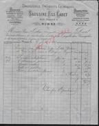 FACTURE DE 1877 SAUSSINE FILS CADET DROGUERIE À NIMES POUR Md LEBRE À JOYEUSE PETITE DECHIRURE : - France