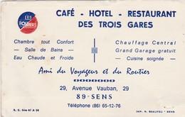 Carte Commerciale Les Routiers / Hôtel Restaurant Des Trois Gares / 89 SENS / Yonne - Cartes