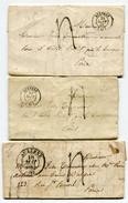 YONNE De AUXERRE Cachet T13 Et T15 Sur 3 LAC De 1840 1842 - Marcophilie (Lettres)