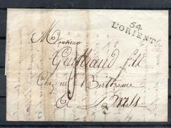 France. LAC Partie De Lorient Le 22 Janvier 1808 Pour Lyon. Griffe Linéaire 54 LORIENT - Marcophilie (Lettres)