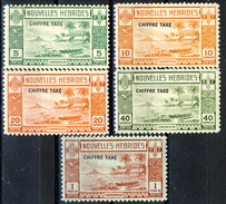 Nouvelles Hebrides Tasse 1938 Serie N. 11-15 MVLH Cat. € 80 - Postage Due