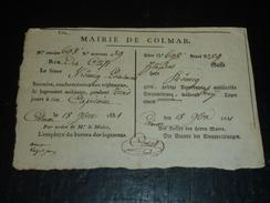 """BILLET DE REQUISITION LOGEMENT MILITAIRE BI-LINGUE (français Allemand) """" MAIRIE DE COLMAR """" ALSACE 1831 - Other"""