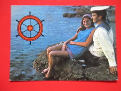 H3-Postcard-Girl And Sailor -Traveld:Pula To Kupusina 1987. - Coppie