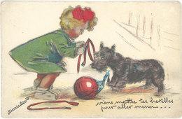 Cpa Illustrateur - Germaine Bouret – Chien & Fillette En Ajoutis / Relief, Découpis - Bouret, Germaine