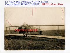 AVION All.-F.A. A253-Autremencourt-02-NOM-NAMEN-Absturz-Aviation-Fliegerei-gr. PHOTO All.-Guerre 14-18-1 WK-Militaria - 1914-1918: 1st War