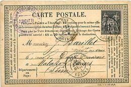 Cpa Précurseur BEAUNE 21 à Malakoff Vanves, 1878, Cachet GIRAUD BOILLOT à Meursault - Beaune