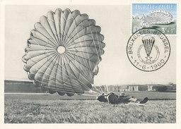 D28562 CARTE MAXIMUM CARD TRIPLE 1960 BELGIUM - PARACHUTING - 3 FR. CP ORIGINAL