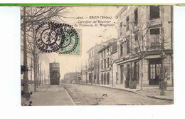 CPA-69-1907-BRON-CARREFOUR DU RESERVOIR-TERMINUS DU TRAMWAY DE MONPLAISIR-UN TRAMWAY- - Bron