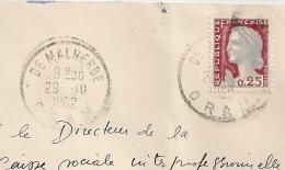 EA Faible Et Décalés Sur DECARIS, DE MALHERBE Oran Algérie. R.F. Non Barrée. Enveloppe Du 29 /10/1962. - Algérie (1962-...)