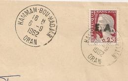 EA Sur DECARIS, HAMMAM BOU HADJAR Oran Algérie. R.F. Non Barrée. Enveloppe Du 6/09/1962. - Algérie (1962-...)