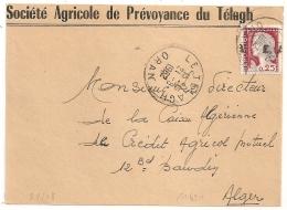 """EA """" A Cheval"""" Sur DECARIS, LE TELAGH Oran Algérie. Devant D'Enveloppe Du 21/8/1962. - Algérie (1962-...)"""