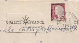 DECARIS Sans EA. ORAN ST CHARLES Oran Algérie. RF Barré Par Traits Doubles. Enveloppe Du 14/8/1962. - Algérie (1962-...)