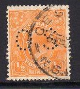 Australia 1929-30 ½d Orange GV Head Official, Wmk. 7, Perf. 13½x12½, Punctured OS, Used, (SG O97)