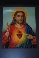 Grande Image Pieuse Ancienne Chromo époque XIXème 22x29cm Sacré-Coeur De Jésus - Devotion Images