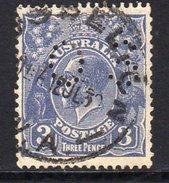 Australia 1929-30 3d Dull Ultramarine GV Head Official, Wmk. 7, Perf. 13½x12½, Punctured OS, Used, (SG O106)