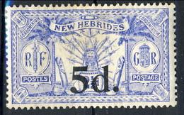 New Hebrides 1924 N. 79 D. 5 Su P. 2 E Mezzo  MH Cat. € 22 - English Legend