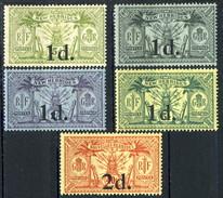 New Hebrides 1920 Cinque Valori Dl N. 64 (MNH)  Al N. 68 (MH) Cat. € 115 - English Legend