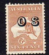 Australia 1931 6d Chestnut 'Roo Official, Wmk. 15, Overprinted OS, Hinged Mint (SG O133)