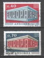 Andorra French 1969 Mi 214-215 Canceled EUROPA CEPT