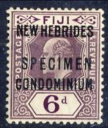 New Hebrides 1911 SPECIMEN N. 25 P. 6 Violetto Bruno MNH Cat. € 80 - English Legend