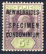 New Hebrides 1911 SPECIMEN N. 24 P. 5 Violetto Bruno E Verde Oliva  MNH Cat. € 80 - English Legend