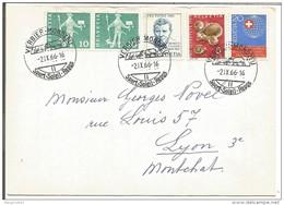 SUISSE LETTRE DE VERBIER-MONDZEU POUR LA FRANCE DU 21/10/1966 - Marcophilie