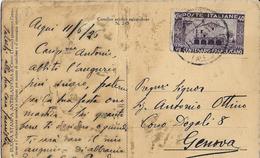 STORIA POSTALE REGNO - CARTOLINA ILLUSTRATA B/N INTESTATA AFFRANCATA 100° FRANCESCANO 40 CENT ISOLATO - Marcophilie