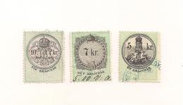 3 Austria Hungary Revenue Urkundenstempelmarken 5,7+10 Kr. - 1.8.1868 - Steuermarken