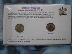 British Honduras 1967 1968 Modern UNC Type 2 Coin Set 1 & 5 Cents In Card - Honduras