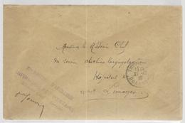 1916 - ENVELOPPE FM De L'INFIRMERIE REGIMENTAIRE Du 27° D'ARTILLERIE à THIVIERS (DORDOGNE) - Poststempel (Briefe)