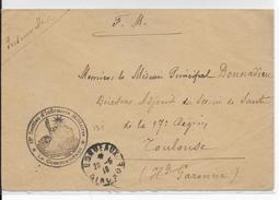 1916 - ENVELOPPE FM De L'INFIRMERIE REGIMENTAIRE - 18° SECTION - De La PLACE De BORDEAUX (GIRONDE) - Guerra Del 1914-18