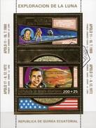Mondforschung 1969 Apollo 11+17 Äquatorial Guinea Bl.66 O 15€ Astronauten Blocs Gold Space Sheets Bf Ecuator.Africa - Spazio