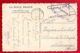 Franchise Militaire. Cachet De L'Ecole Auxiliaire De Pilotage N. 20 - Carcassonne Sur CP Carcassonne Janvier 1940 - Guerre De 1939-45