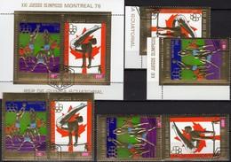 Montreal 1976 Äquatorial Guinea 875/6,2x ER,ZD+Block 227 O 27€ Turnen Volleyball Ss Se-tenant Sheet Ecuator.Africa