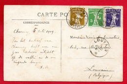 Timbres N°. 111, 112 Et 113 Type I ( 1909) Sur CP  Charmey Et La Hochmatte  6 Juillet 1909 - Suisse