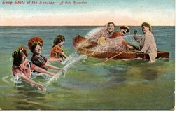 """ENGLAND, Snap Shots Of The Seaside- """"A Cold Reception"""", Swim Suits, Pre-1920 Valentine Postcard - Mode"""
