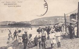 ESPAGNE.  SAN SEBASTIAN. CPA RARE. ANIMATION PLAYA DE BANOS . ANNÉE 1908 - Guipúzcoa (San Sebastián)