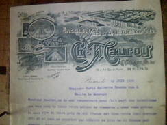 Facture Ancienne Epicerie Vins Spiritueux En Gros Ch Mauroy A Reims Annee 1909 - Alimentare