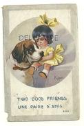 """Petite Fille Et Saint Bernard. """"Une Paire D'amis""""Signée Right 1918. Tampon De Censure 3359 - Right"""