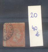 GRECE GRECIA ANS 1863-1871 TETE DE MERCURE YVERT NR. 20 OBLITERE VOIR SCANS AVEC 2 CERTIFICATIONS D'EXPERTS AU DOS BIG M - Gebruikt