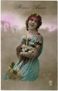 CPA Bonne Année, Fille Avec Fleurs, Dame Met Lelies, Girl With Lily's (pk32365) - Nouvel An