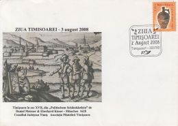 54732- TIMISOARA TOWN ANNIVERSARY, OLD ILLUSTRATION, SPECIAL COVER, 2008, ROMANIA