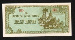 Banconota Myanmar (Burma) 1/2 Rupee 1942 FDS - Myanmar