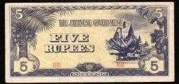 Banconota Myanmar (Burma) 5 Rupee 1942/44 - Myanmar