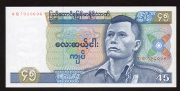 Banconota Myanmar (Burma) 45 KYats 1986 - FDS - Myanmar